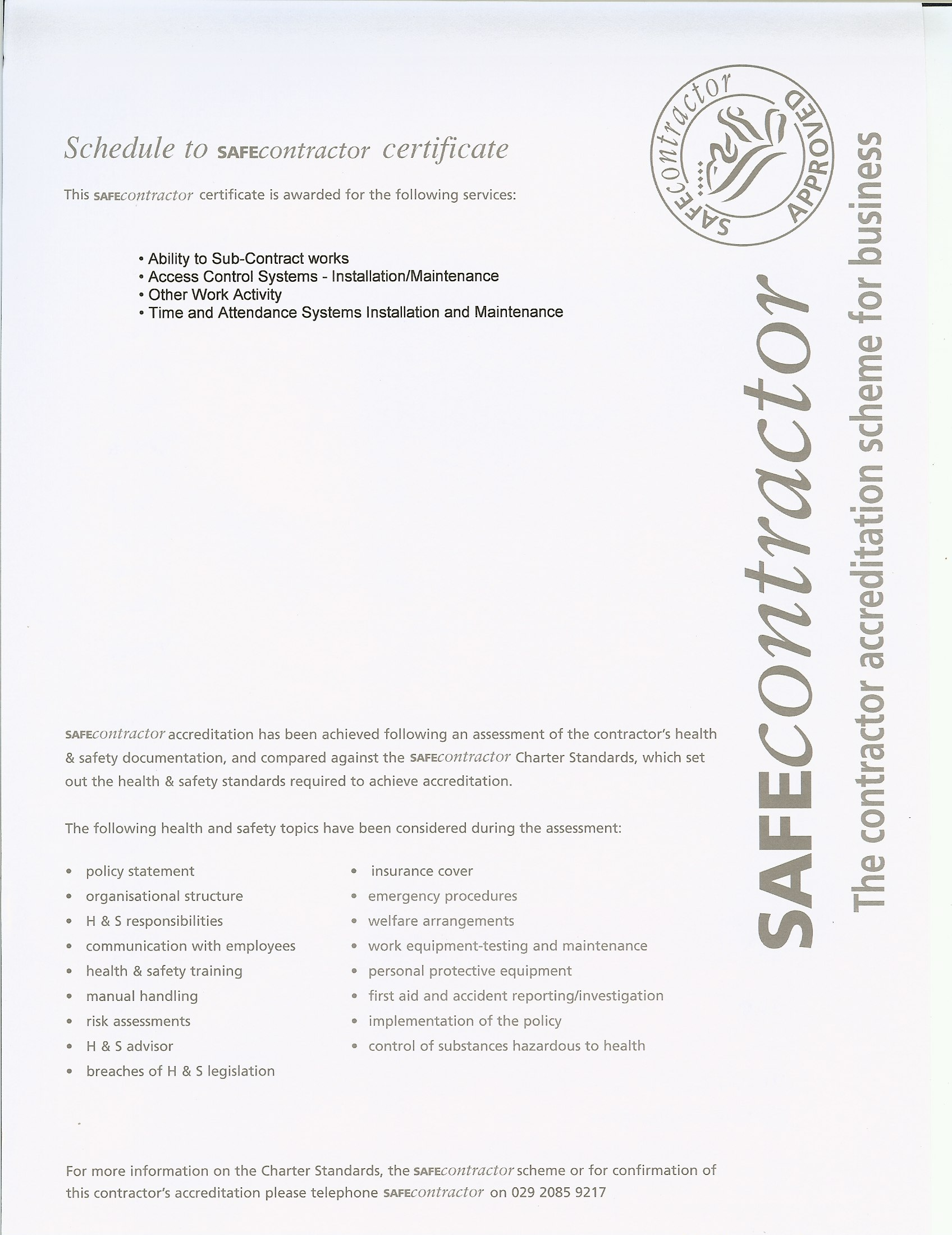SAFEcontractor Certificate – back