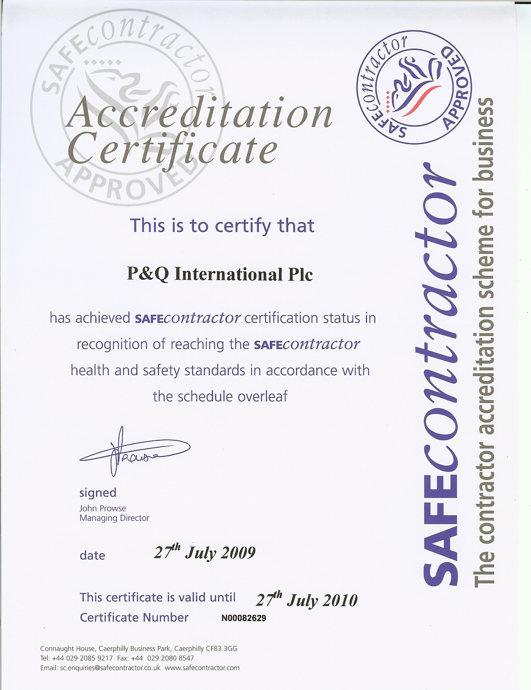 SAFEcontractor Certificate – front